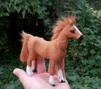 11x9cm Light Brown Horse Hard Model Polyethylene Furs Handicraft Figurines Miniatures Home Decoration Toy Gift A2848