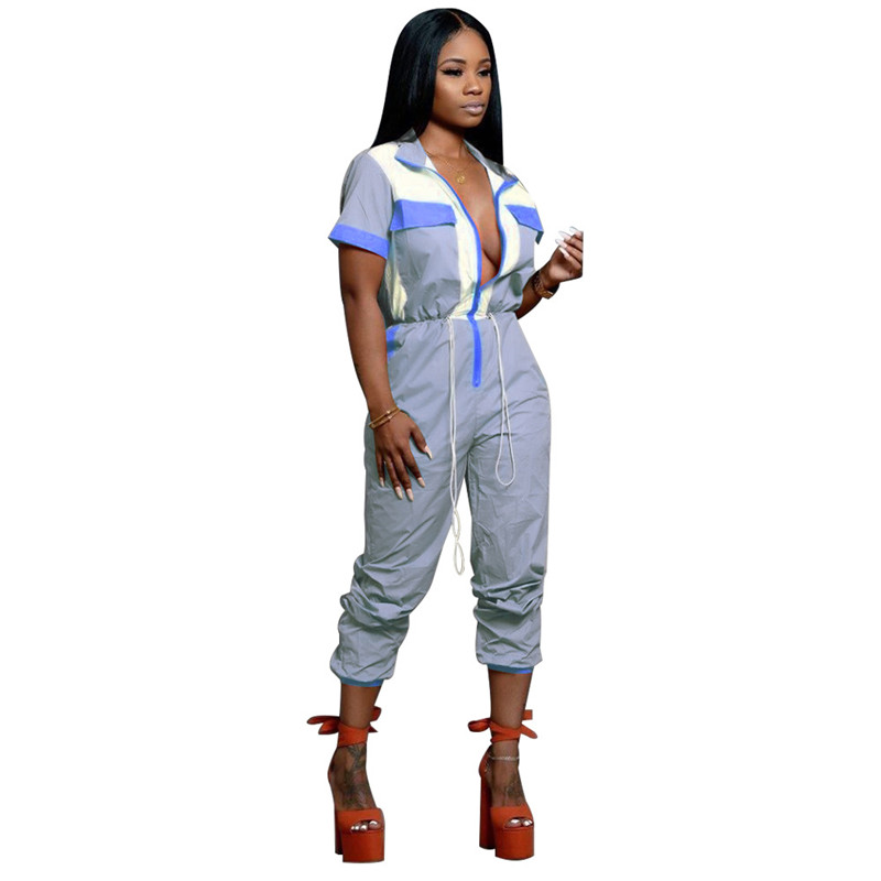 Adogirl Color Patchwork Women Casual Jumpsuit Zipper Turn Down Collar Short Sleeve Pockets Romper Overalls Female Tracksuit in Jumpsuits from Women 39 s Clothing