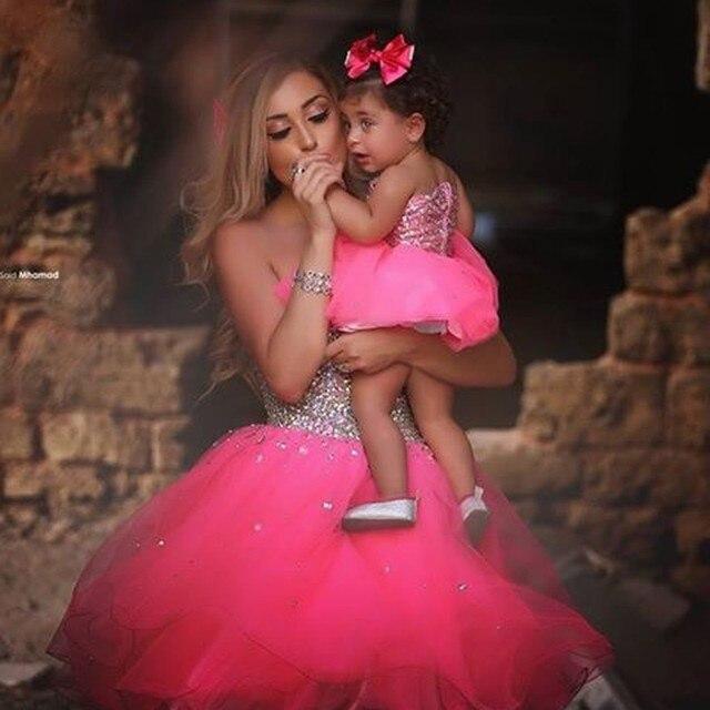 Dijo Mhamad Vestidos De Madre E Hija Rosa Rhinestones De Bling Bling
