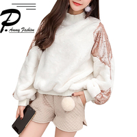 Women S Plush Warm Patch Color High Collar Loose Sweatshirt Lady Oversized Winter Heavy Embroidery Sequins