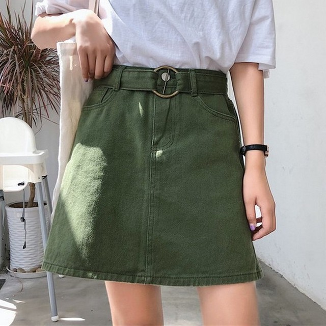 Candy Color Summer Women Jeans Skirt A-Line Belt Casual Harajuku Denim Jupe Mujer College Wind High Waist Black Red Khaki Skirts