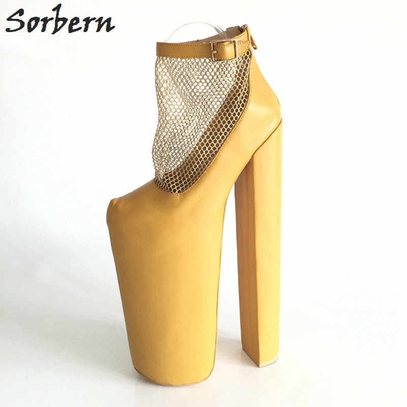 21dcc0c9d03 Sorbern Ginger Yellow Ankle Boots Women 35cm High Heels 28cm Platforms Mesh  Shoes Handmade Customized Plus
