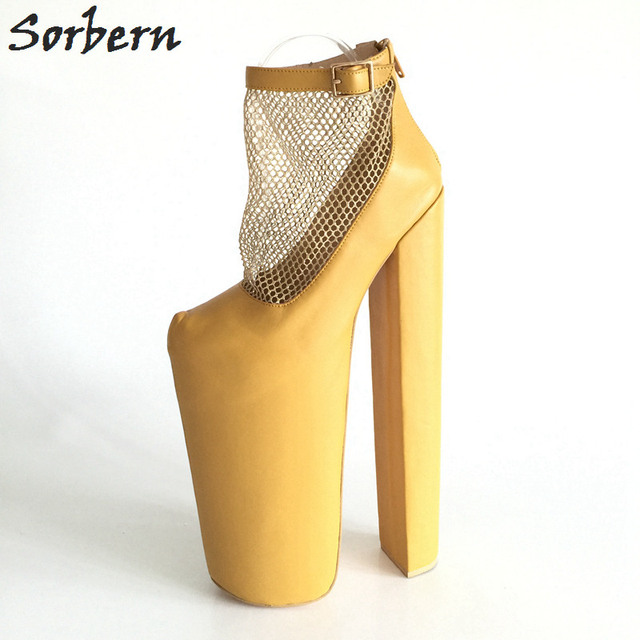 cb5dd2959770 Sorbern Ginger Yellow Ankle Boots Women 35cm High Heels 28cm Platforms Mesh  Shoes Handmade Customized Plus Size EU34-46