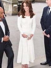Hot Sale 2017 Autumn Kate Middleton Stripe Dress Sexy Long Sleeve A-Line Dres