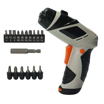 цена на Mini 6V Battery Operated Cordless Electric Screwdriver with LED Lighting Bidirectional Switch 16pcs head