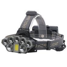 100000LM 2T6+5XPE+1COB 8LED Headlamp Rechargeable Flashlight USB Headlight 18650