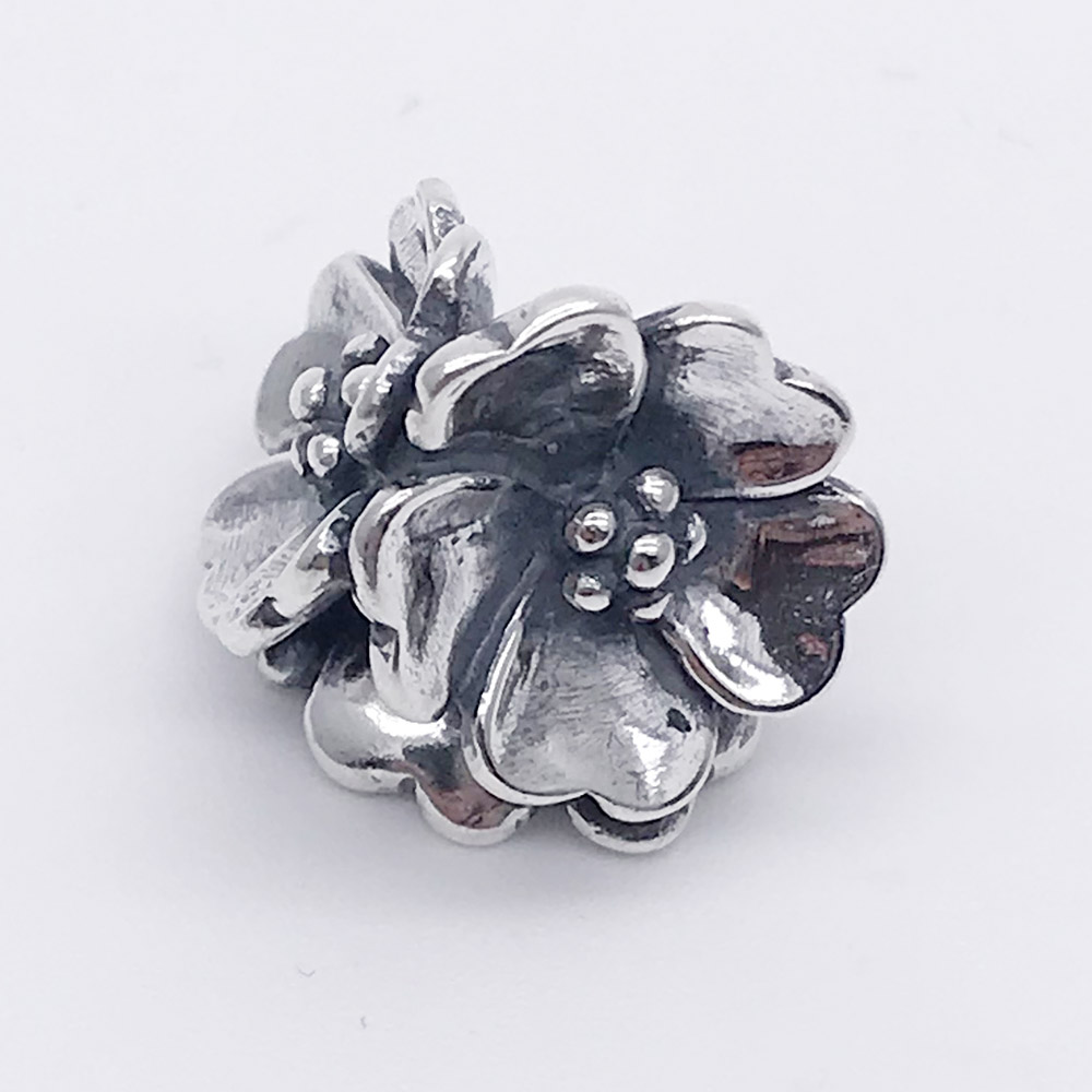925 Sterling Silver Apple Blossom Charm Beads Fit European Troll 3 mm Bracelet & Necklace Jewelry authentic 925 sterling silver charm beads shadow petals compatible fit troll european brand diy bracelet jewelry gift for woman