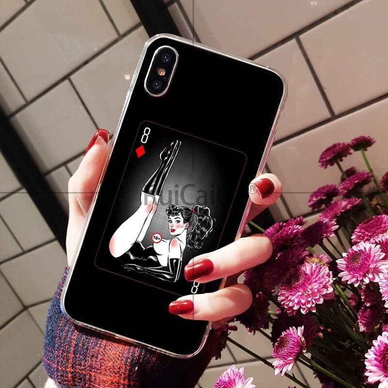 Ruicaica Gợi Cảm xi Cô Gái Trong Suốt TPU Mềm Dẻo Silicone Ốp Lưng Điện Thoại cho iPhone 8 7 6 6 S Plus 5 5 5S SE XR X XS MAX Coque Vỏ