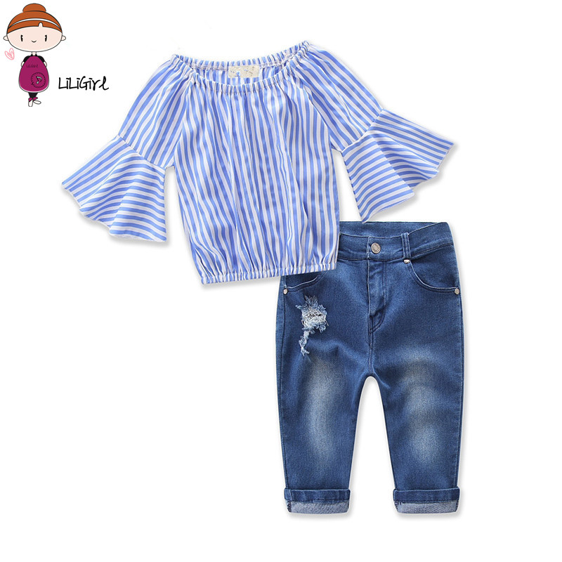 2Pcs Baby Clothes Sets Girl Long LineShoulder Striped Clothing +Jeans Suit Fashion Toddler Girls Set 2017 Summer Autumn New 3-8T 15 free shipping top striped dress children baby 3 pcs suit set girl s clothing sets girls sport suits chilren set