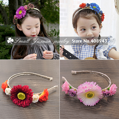 Free Shipping Fashion Woman children hair accessories Girl baby flower headband hairbands Artificial garland Flowers wreath!X385