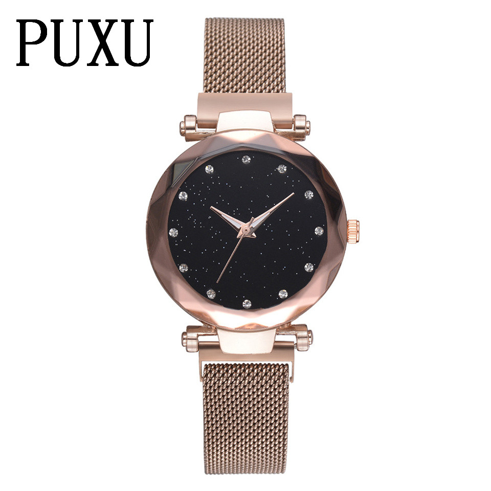 Minimalism Magnet buckle Female Quartz Wristwatch Fashion Rose Gold Women Waterproof Watch Starry Sky Unique Lady Clock Gift vr racing blue silicone radiator coolant hose kit for vw golf gti 2 0t fsi turbo mk5 2003 2009 vr lx1305