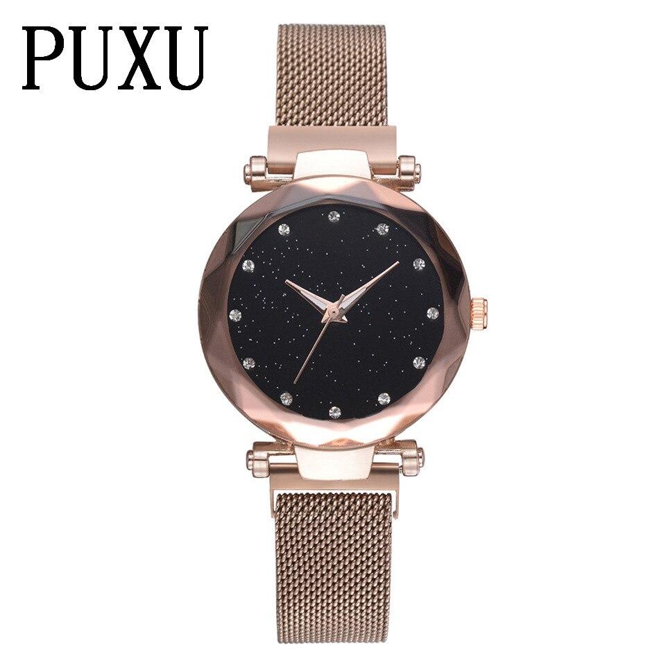 Minimalismus Magnet schnalle Weibliche Quarz Armbanduhr Mode Rose Gold Frauen Wasserdichte Uhr Starry Sky Einzigartige Dame Uhr Geschenk