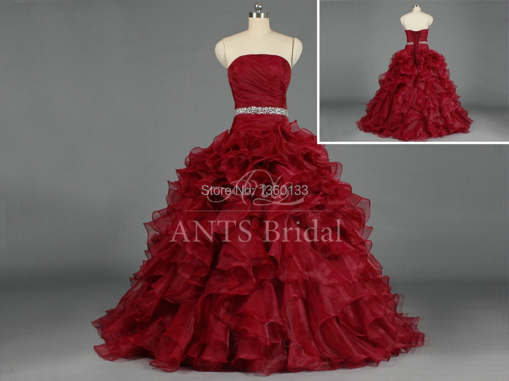 Real Sample 2016 Wine Red Ball Gown Sweet Dress For 15 ...