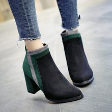 Women Patchwork Thick High Heel Flock Short Boots Zipper Round Toe Shoes Ankle Botas #TXD(China)