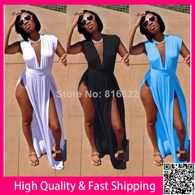 d85f0490f5d Black White Deep V Cut Side Sexy Dress 2014 Women Summer Bodycon Long Dress  Novelty Party Club Dresses Plus Size XXXL