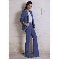 Lake Blue Women Business Suitspants Office Work Wear 2 Piece Sets Uniform Styles Elegant Pant Suits