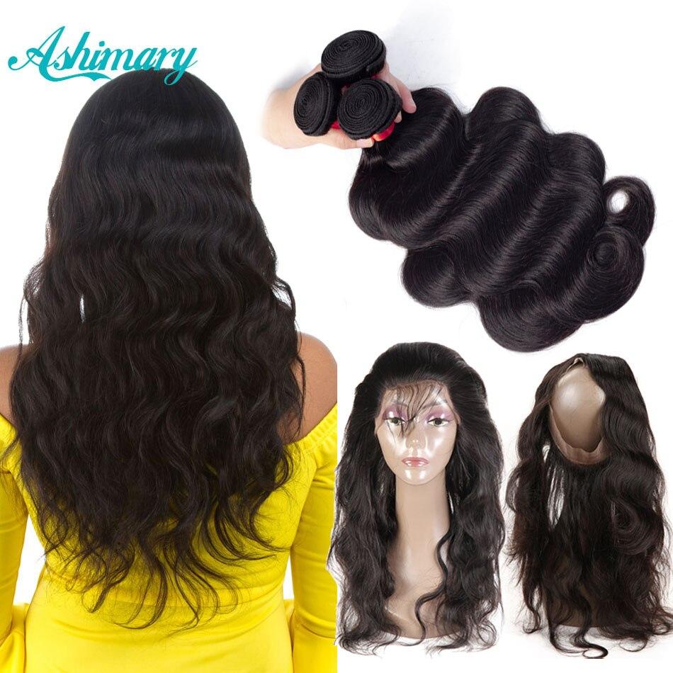Ashimary 360 Frontal de encaje de cierre con paquetes de onda del cuerpo brasileño del pelo humano 360 Frontal de encaje con paquete de pelo de Remy teje