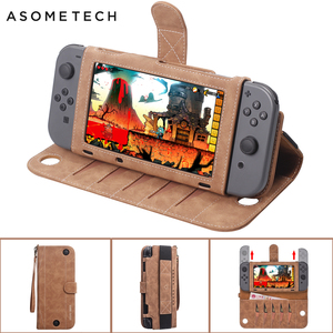 Image 1 - Portable Leather Bag For Nintendo Switch Multi functional Game Card Storage Cover Case For Nintend Switch Console Accessories