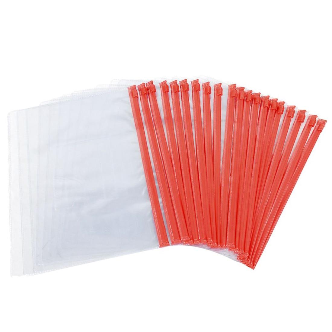 Size A5 Card Slider Zip Closure Folders PVC Folders Envelopes, 20 Pieces