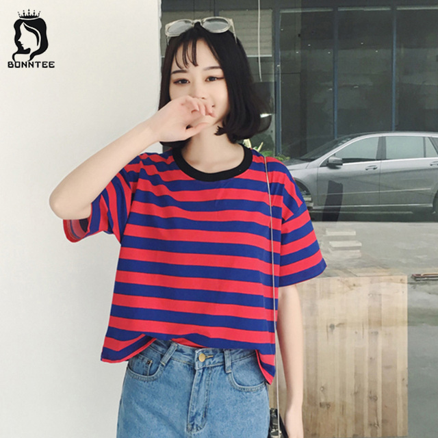 Korean Summer Sweet Women 5 Quarter Sleeve T-shirt Womens Striped Loose  Fashion Female T-shirts Females Breathable Chic Students 75971a8a1618