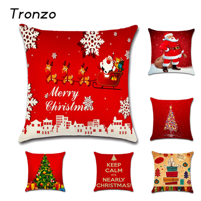 Tronzo 4545CM Christmas Decorations For Home Xmas Pillowcase Tree Santa Claus Linen Cushion Cover