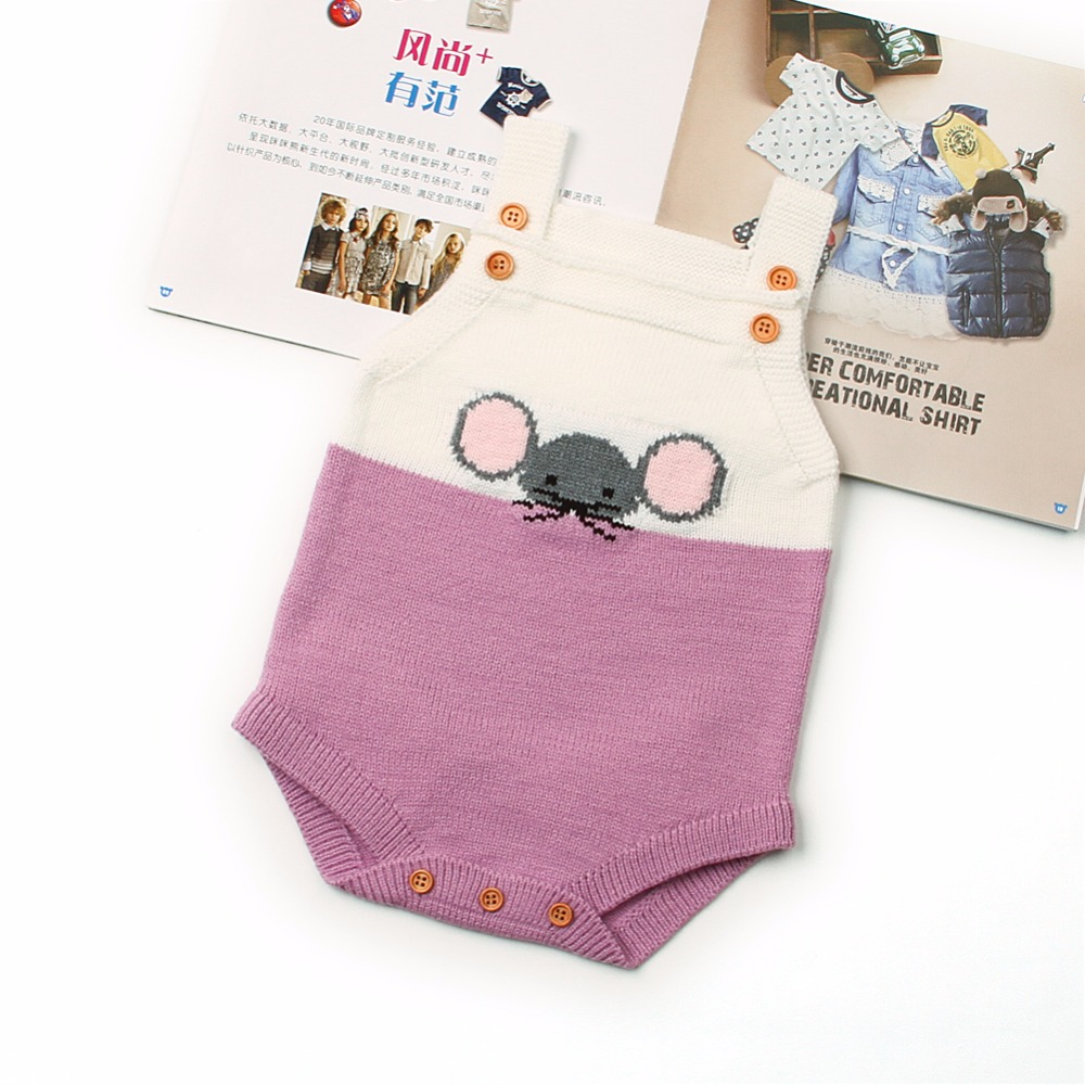 New Born Baby Boy Clothes Cute Cartoon Mouse Style Toddler Girls Funny Bodysuits Jumpsuits Handmade Knit Infant Overall Coverall