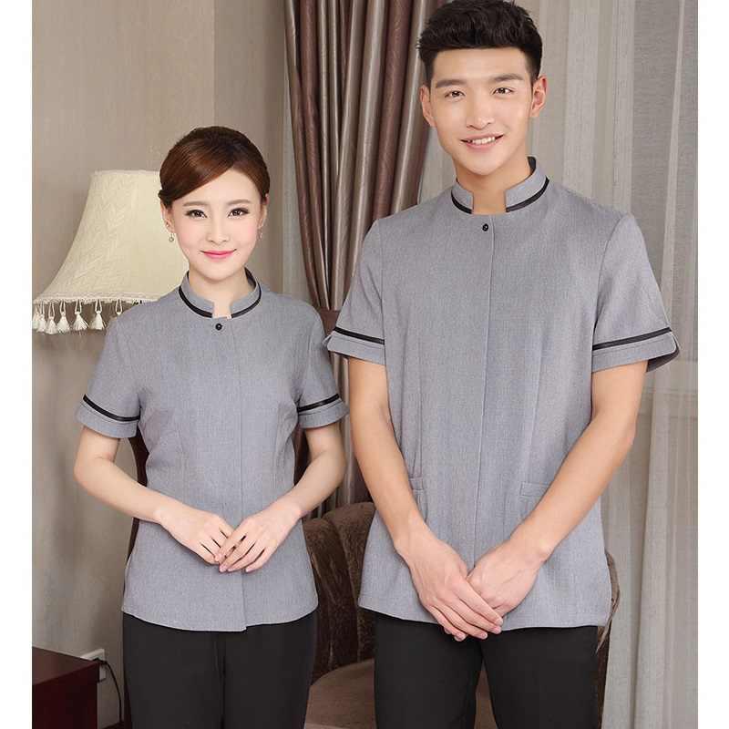(10 مجموعة-قميص وبانت) الصيف تنظيف الملابس قصيرة الأكمام غرف الفنادق مطعم الحاضرين الملكية الفنادق الحاضرين عمال