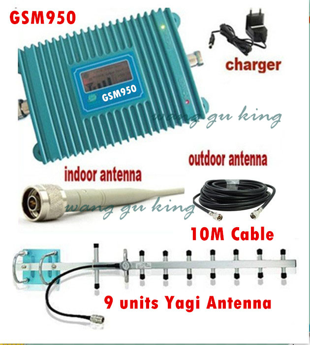 LCD Display GSM 900Mhz Mobile Phone GSM 950 Signal Booster , Cell Phone GSM Signal Repeater + 13dBi 9 Units Yagi Antenna + Cable