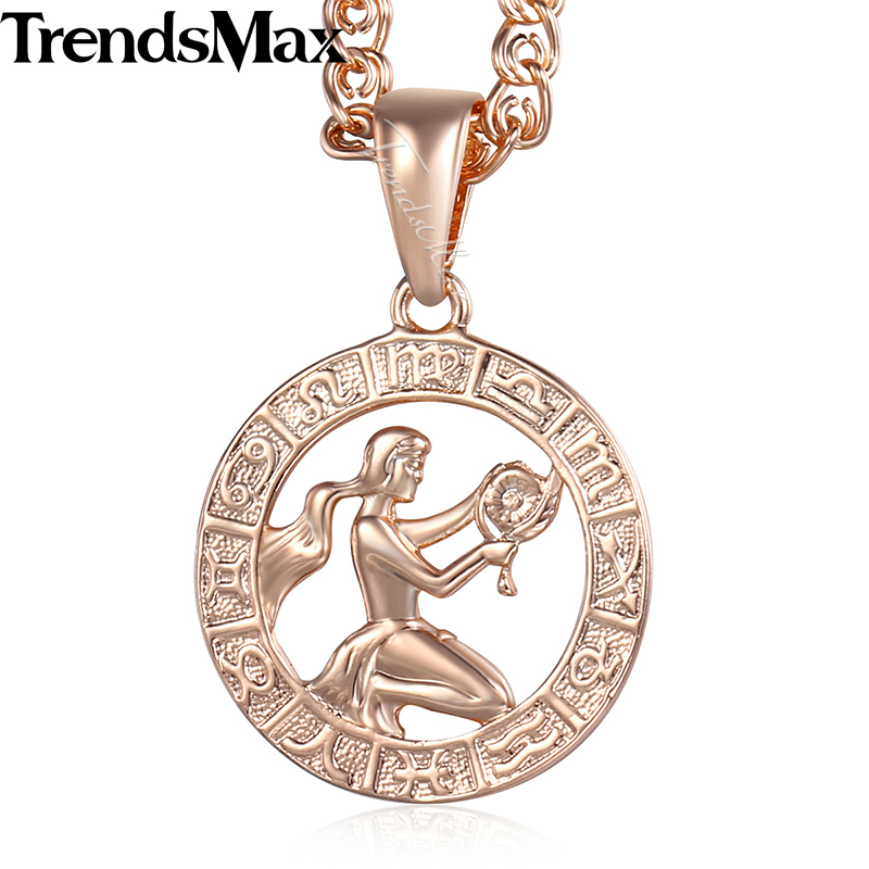 Virgo 12 Zodiac Sign Constellation Womens Necklace 585 Rose Gold Color Pendant Necklace For Women Men Gift Jewelry KGP183