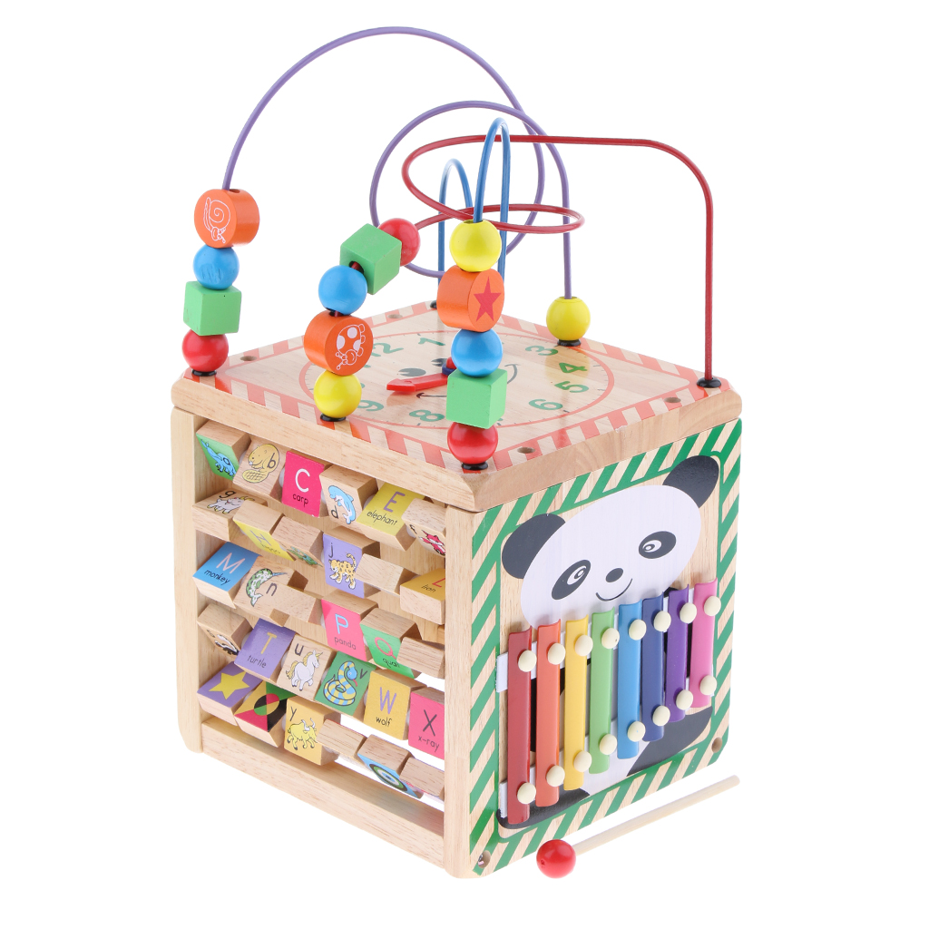 Cube d'activité jouets en bois perle labyrinthe forme trieur pour 1 an