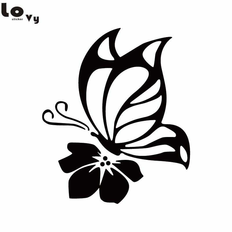 Butterfly with Flower Vinyl Wall Stickers Creative Cartoon