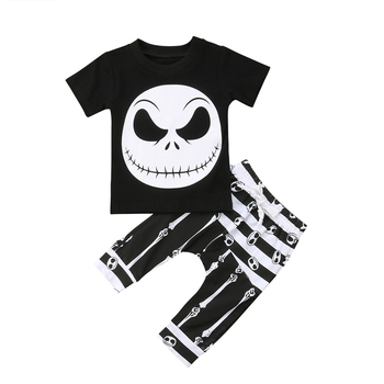 Fashion Kids Baby Boy Clothes Set Halloween Outfits Set Short Sleeve T-shirt Tops+ Pants Leggings Pants Clothes Boys Clothing