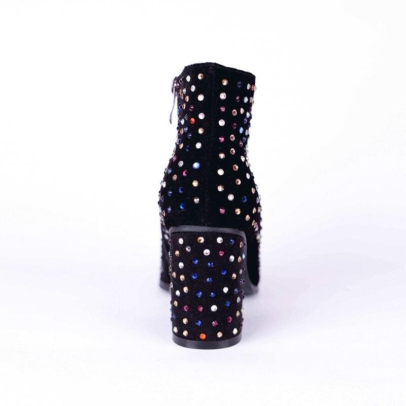 Taille Enmayla Carré De 34 Base Femme Pointu Chaussures Pour Neige Zip Chaussons Cheville 43 Zyl1883 Bout Bottes Black Talon IDH9WE2Y
