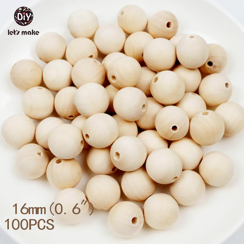 Let`s Make Round Maple Wood Teething Beads 100pc Unfinished Car Seat Accessories Baby Seat Hanging Materials Wooden Teether