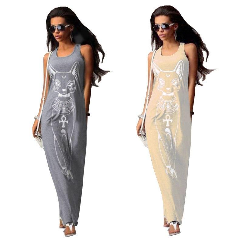 caf39a0937 Sexy Evening Party Summer Dresses Women Boho Long Maxi Dress Strap Slim  Package Hip Vest Sundress Cartoon Cat Print Beach Dress-in Dresses from  Women's ...