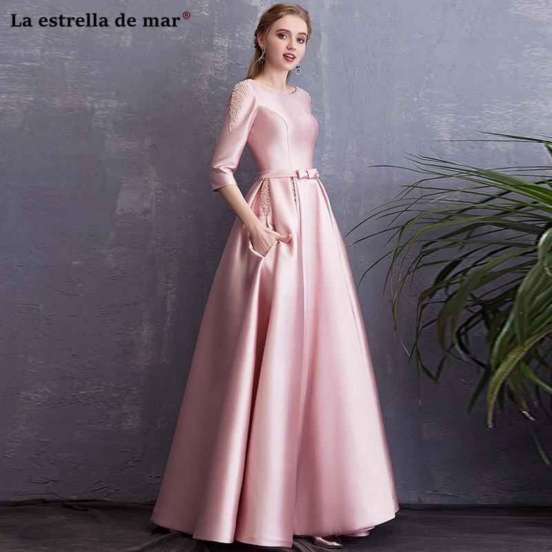 Vestido madrinha longo2019 new satin pearl Three Quarter sleeve A Line pink   bridesmaid     dress   retro wedding party gown abiti dami