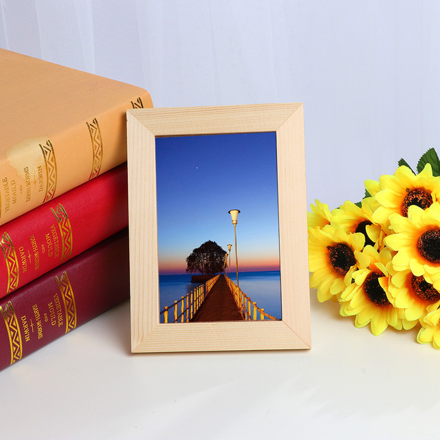 2019 New Arrival Wooden Picture Frame Wall Mounted Hanging Photo Frame Home Decor DIY Craft Decoration Wall Decals Frame