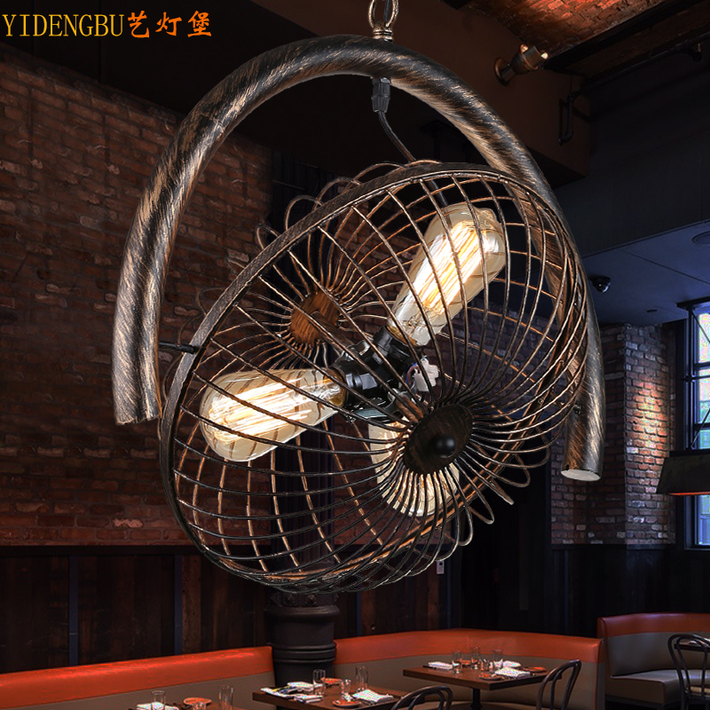 Retro industrial wind, Nordic restaurant chandelier, American country bar, study, personality, iron fan, chandelier.Retro industrial wind, Nordic restaurant chandelier, American country bar, study, personality, iron fan, chandelier.