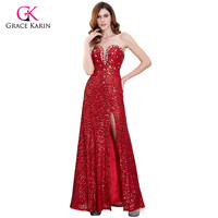Grace Karin Red Prom Dresses Long Sparkle Evening Party Dress Shiny Sequin Strapless Side Slit Formal