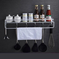 Space aluminum kitchen rack wall hanging spice rack spatula spoon storage free punching non suction cup wall storage rack