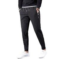 Skinny Sweatpants Men Long Pants Hip Hop Striped Casual Popular Street Striped Pencil Pants Trousers Black