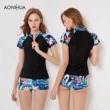 AONIHUA Surfing Suits Women Swimwear 2018 New Floral Print Large Size Female UV Sun Protection Bathing Two Pieces Swimsuit