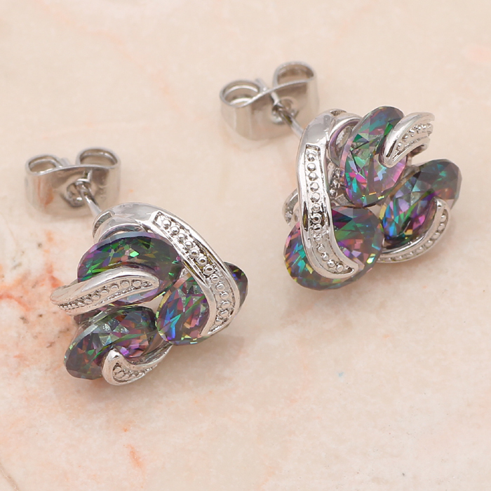 Classic style Pendants Earrings Ring Set silver 925 Inlay Mystic AAA Zirconia Fashion Jewelry set Sz #6 #7 #8 #9 MS033A