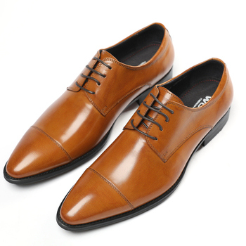 Fashion Black / Brown Pointed Toe Prom Shoes Boys Wedding Dress Shoes Genuine Leather Business Shoes