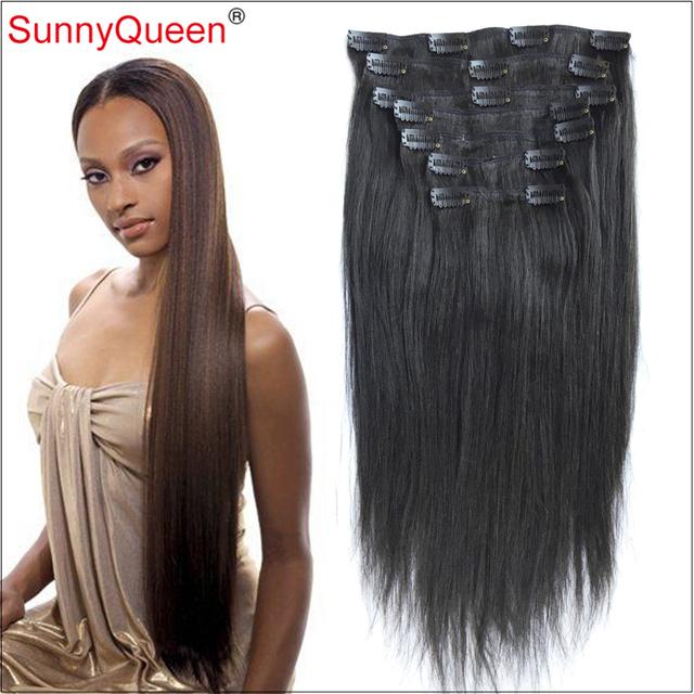 Grau 7A Grampo em Extensões de Cabelo Humano Luz Yaki/Yaki Em Linha Reta indiano Grampo de Cabelo Virgem para As Mulheres Negras Rainha Ensolarado cabelo
