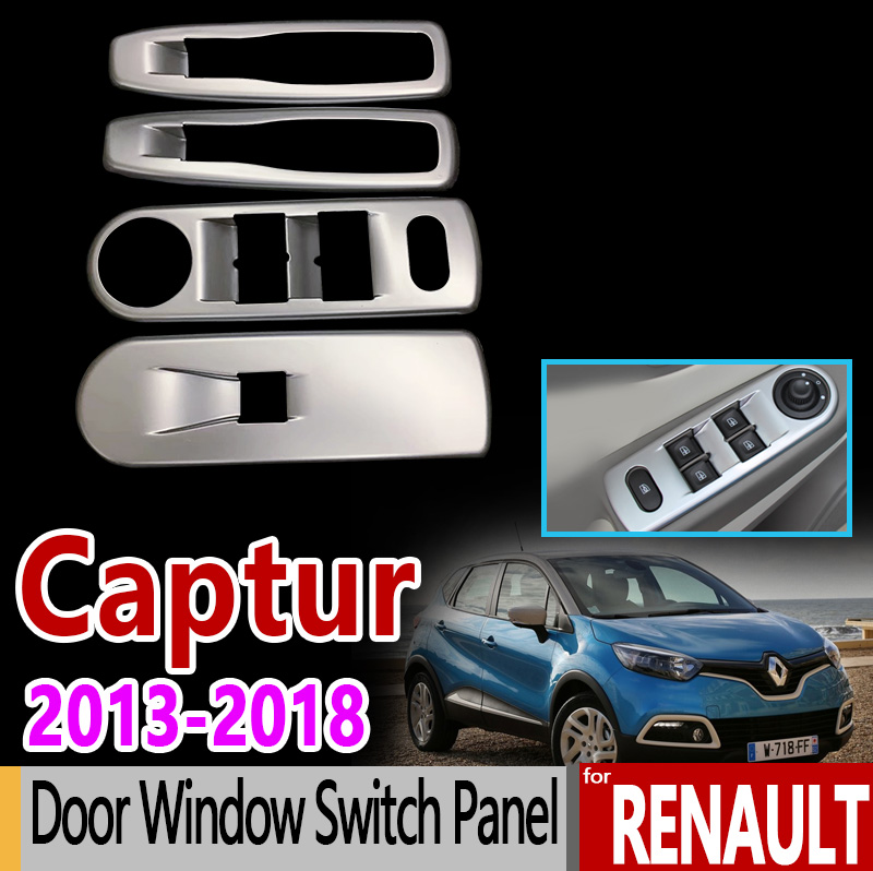 for Renault Captur Kaptur Samsung QM3 Matte Chrome Door Window Switch Panel 2013 2014 2015 2016 2017 2018 Accessories Sticker for renault captur luxurious chrome door handle covers accessories stickers car styling 2013 2014 2015 2016