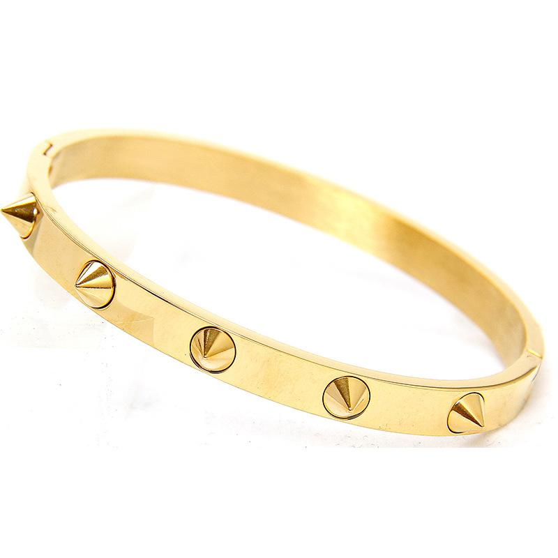 New Top Quality Gold Plate Titanium Stainless Steel Luxury Brand Nail Cuff Bracelets Bangles For Women Men Punk Buckle Bracelet