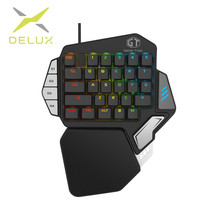 hot deal buy delux single-handed mechanical gaming keypad ergonomic all keys rollover programmable rgb mini keyboards for pubg lol e-sports