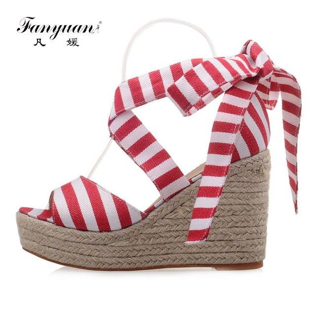 b77b889777a45 Fanyuan Wedges Sandals Women High Heel Platform Shoes Woman Sweet Striped  Lace Up Sandals Straw Heels Summer Wedges Shoes Women