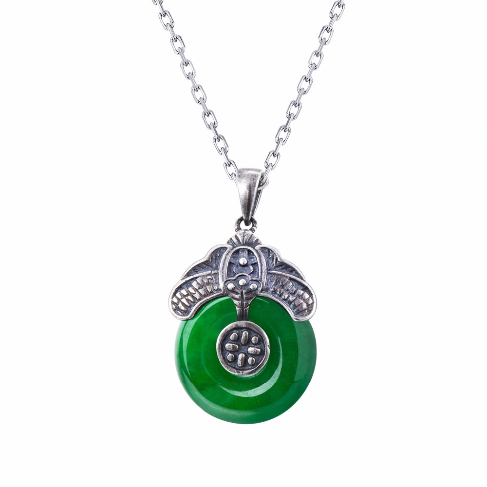 Myanmar Emerald Pendant For Lady Original Handmade Pure 925 Sterling Silver Gemstone Pendant Elegance Jewelry For